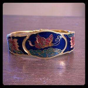 Vintage Cloisonné Butterfly Gold Bangle Bracelet